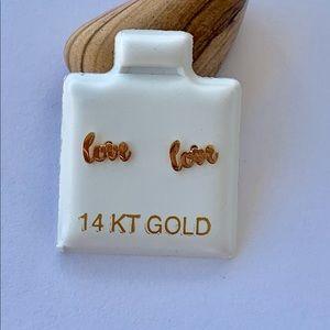 "Real 14k Gold Stud Tiny Earrings ""love"""